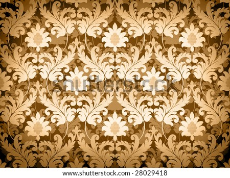 Decorative light gold renaissance background - stock photo