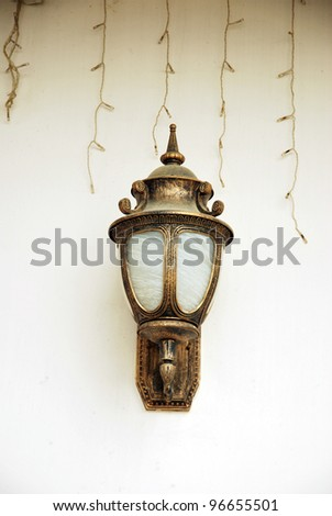 decorative lights on the wall - stock photo