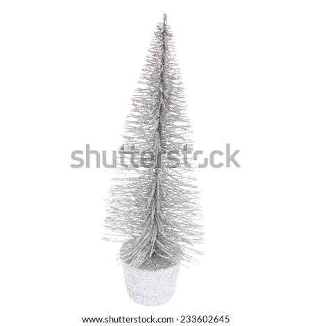 Decorative little silver Christmas tree isolated on white