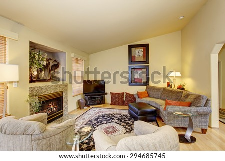 Decorative living room with nice rug, and fireplace.