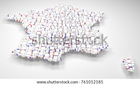 Decorative Map of France - Europe | 3D mosaic of little bricks - Flag colors