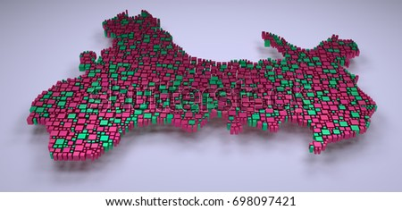 Decorative map of Wales - UK - in a mosaic of little boxes