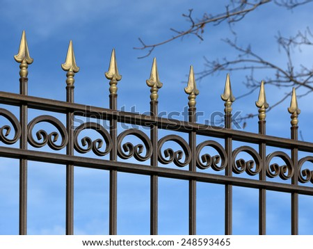Decorative metal fence with  ornaments  in old  stiletto.  - stock photo