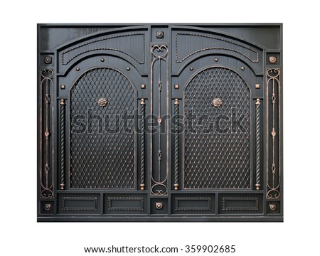 Decorative metal gate  by ornament. Isolated over white background. - stock photo