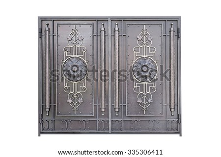 Decorative metal gate. Isolated over white background. - stock photo