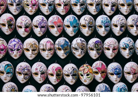 Decorative miniature venetian carnival masks - Venice, Venezia, Italy, Europe - stock photo