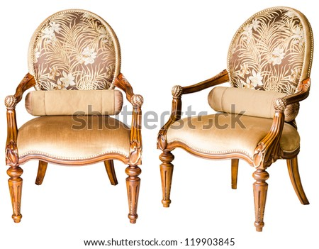 Decorative modern style wooden chair , kind of furniture  isolated on white background