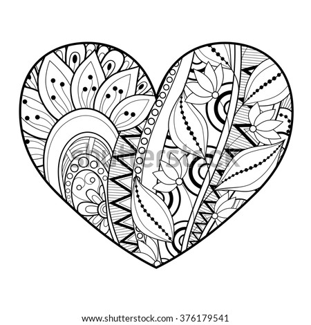 Decorative Monochrome Floral Heart. Valentine's Day Greeting Card, Ornate Holiday Symbol - stock photo