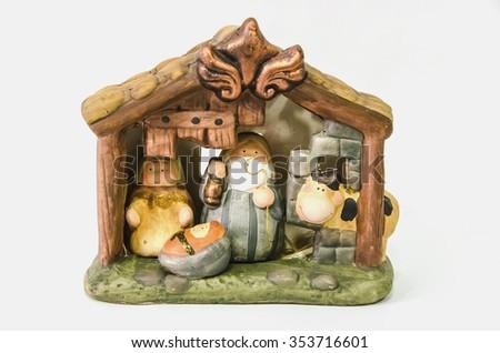 Decorative nativity scene with joseph, mary and jesus christ. Belen, nacimiento - stock photo