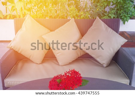 decorative of pillows on casual sofa in living room.