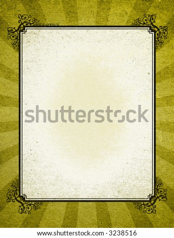 Decorative old fashion frame on a abstract Grunge textured background with starburst