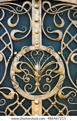 Decorative ornament on door, made of metal