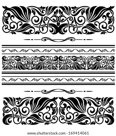Decorative ornaments and patterns with floral embellishments for design. Vector version also available in gallery - stock photo