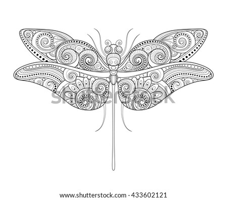 Decorative Ornate Dragonfly. Monochrome Illustration of Exotic Insect. Patterned Design Element - stock photo