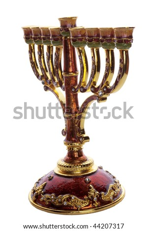 decorative  ornate menorah isolated on white - stock photo