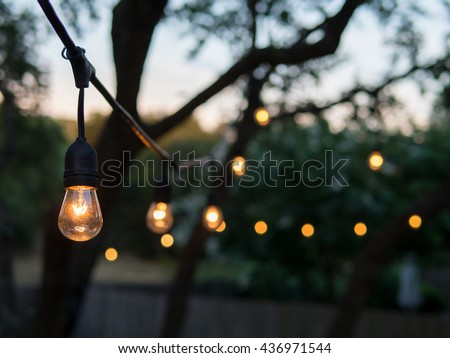 Decorative outdoor string lights hanging on foto de stock libre de decorative outdoor string lights hanging on tree in the garden at night time aloadofball Gallery