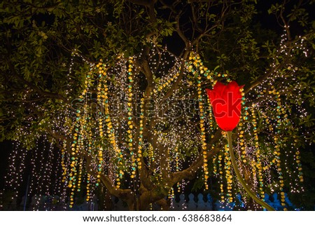 Decorative outdoor string lights hanging on stock photo 100 legal decorative outdoor string lights hanging on tree in the garden at night time decorative christmas aloadofball Gallery