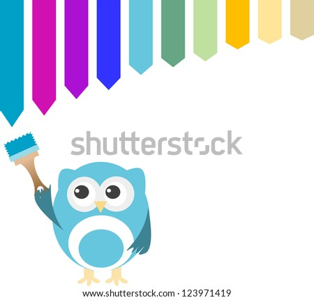 Decorative owl on a white background with paint brush, raster - stock photo