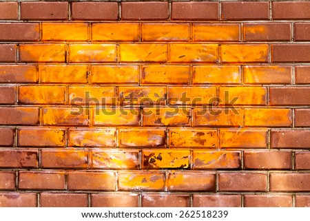 decorative painting painted surface stone brick wall vintage old cracked - stock photo