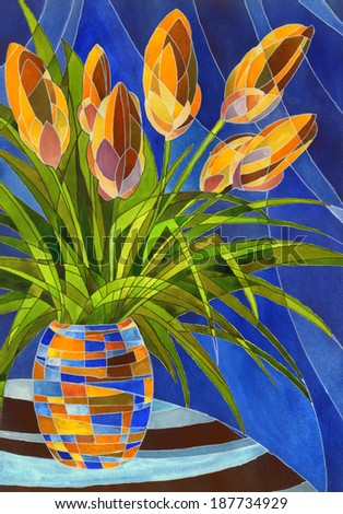 Decorative painting with space for text. Abstract big yellow flowers and lush green foliage in vivid mottled vase with geometric pattern on dark blue backdrop