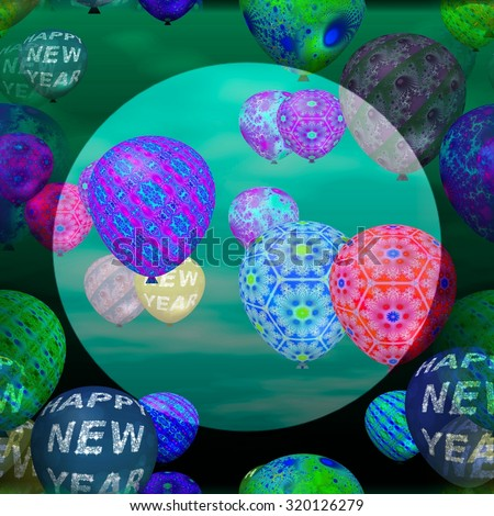 Decorative party air balloons with inscription Happy New Year and abstract patterns. Middle of the picture is brighter circularly bounded space for adding text. - stock photo