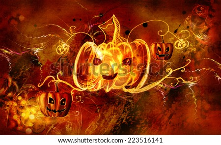 Decorative pattern pumpkin glowing on a black background - stock photo