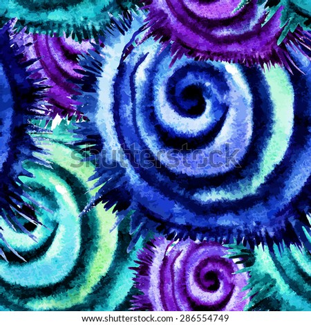 Decorative pattern with watercolor hand-drawn twisted elements - stock photo
