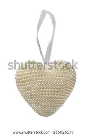 Decorative pearl heart on white ribbon isolated over white - stock photo