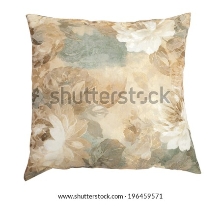Decorative pillow with flowers in pastel colors isolated on white background with clipping path