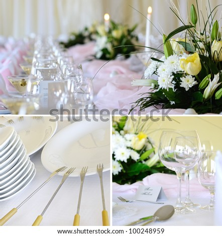 Decorative placemats on the table - banquet collection 3 photos - stock photo