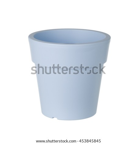Decorative plastic pot on white background