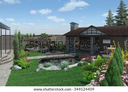Decorative pond and garden pavilion, landscaping 3D render - stock photo