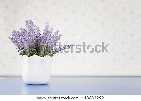 Decorative pots with purple flowers 2