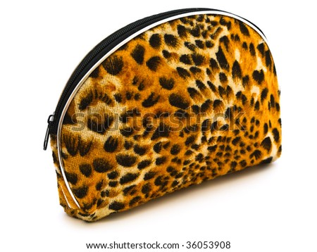 decorative purse with zipper in wild leopard design against the white background - stock photo