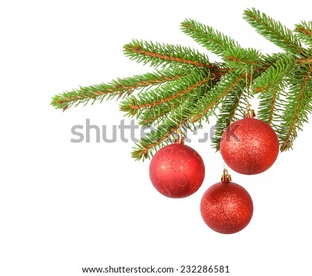 decorative red balls on the branch of christmas tree - stock photo