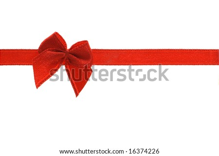 Decorative red bow ribbon on white background