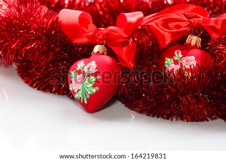 Decorative red heart with ribbon and bow