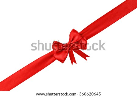 Decorative red ribbon with a bow isolated on white - stock photo
