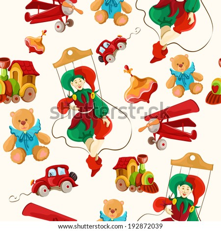 Decorative retro baby toys sketch seamless pattern of airplane peg top teddy bear puppet  illustration - stock photo