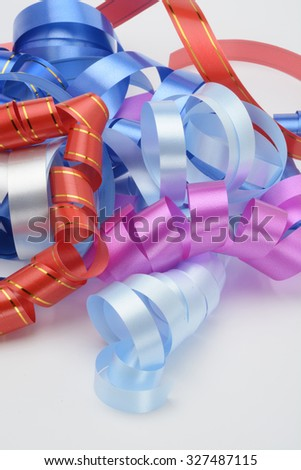 Decorative ribbons for presents several different colors