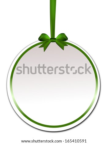 Decorative round with green bow on a white background