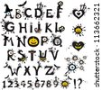 Decorative scary style alphabet, Halloween theme font.  Illustration - stock photo