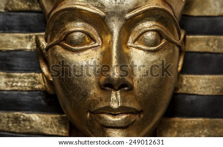 Decorative sculptures with Egyptian motives mimicking ancient faro's artifacts.  - stock photo