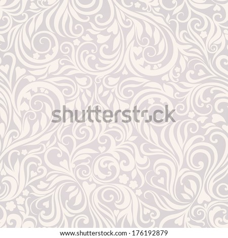 Decorative seamless floral lightgrey background with flowers and hearts