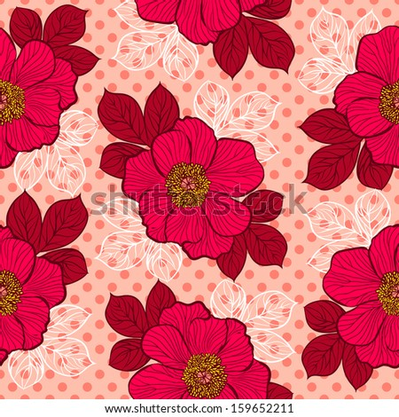 Decorative seamless floral pattern with flowers of peony. Raster version