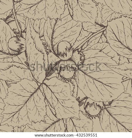 Decorative seamless pattern with hazelnuts and leaves.