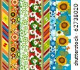 Decorative seamless striped colorful summer border with floral application - stock photo