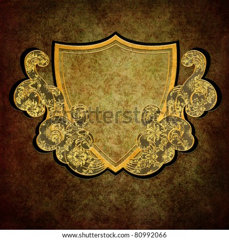 decorative shield with ribbons on the grunge background - stock photo