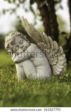 Decorative statue in a garden
