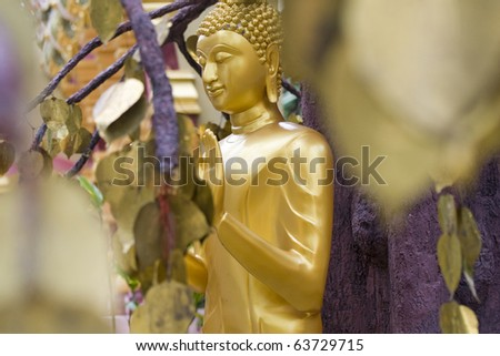 decorative statue of golden Buddha in Thailand - stock photo